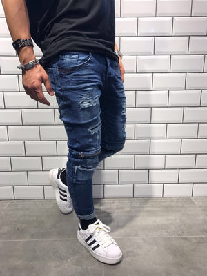 Blue Knee Zipper Slim Fit Denim SJ216 Streetwear Denim Jeans - Sneakerjeans