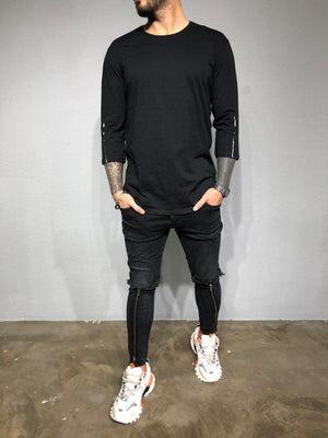 Black Back Zip Sleeve Zip Oversized Long Sleeve Shirt BL192 Streetwear T-Shirts - Sneakerjeans