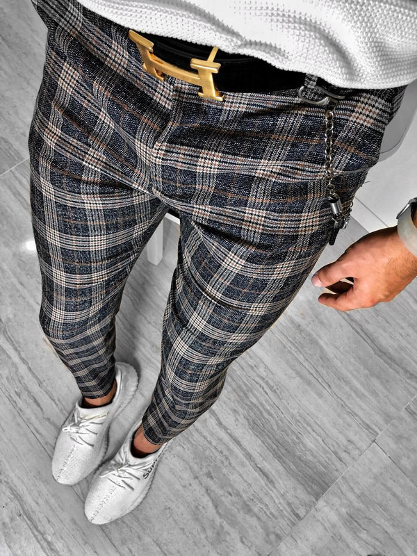 Checkered Casual Pant S151 Streetwear Casual Jogger Pants - Sneakerjeans