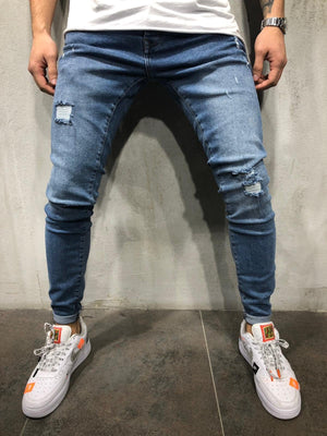 Blue Washed Ripped Skinny Fit Jeans A218 Streetwear Mens Jeans - Sneakerjeans