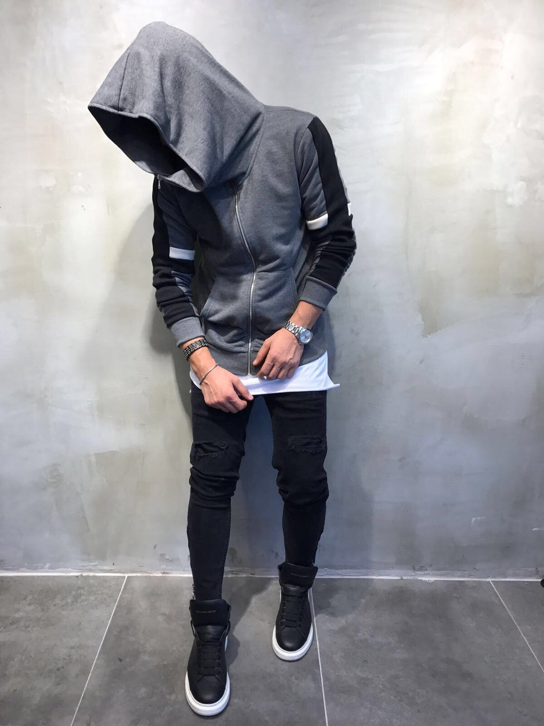 Gray Big Hoodie Jacket SJ208 Streetwear Sweatshirt