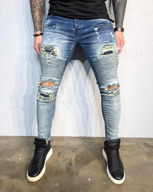 Blue Printed Distressed Ultra Skinny Fit Biker Denim B334 Streetwear Jeans - Sneakerjeans