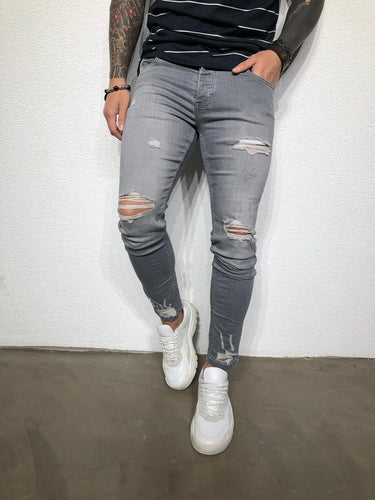 Gray Washed Ripped Ultra Skinny Fit Denim BL205 Streetwear Jeans