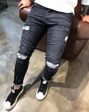 Load image into Gallery viewer, Black Washed Distressed Ultra Skinny Denim B326 Streetwear Jeans