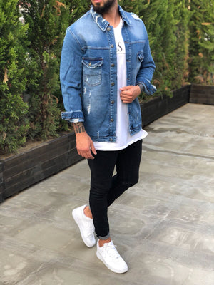 Blue Distressed Denim Jacket B240 Streetwear Denim Jacket - Sneakerjeans