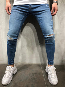Blue Washed Ripped Ultra Skinny Fit Denim AY306 Streetwear Jeans