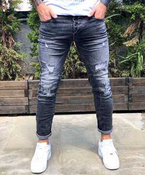 Black Distressed Skinny Fit Denim B260 Streetwear Jeans - Sneakerjeans