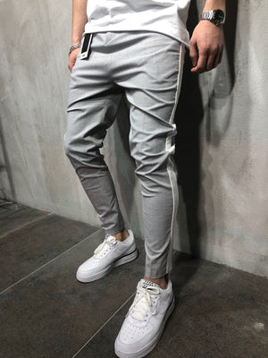 Light Gray Side Striped Casual Jogger Pant A111 Streetwear Jogger Pants - Sneakerjeans