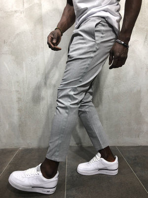 Light Gray Banding Casual Jogger Pant A56 Streetwear Jogger Pants - Sneakerjeans