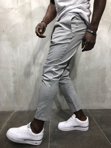 Light Gray Banding Casual Jogger Pant A56 Streetwear Jogger Pants