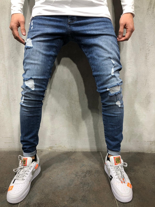 Blue Distressed Skinny Fit Denim A220 Streetwear Jeans - Sneakerjeans
