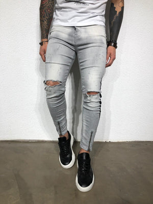 Gray Striped Distressed Ultra Skinny Fit Denim BL179 Streetwear Jeans - Sneakerjeans