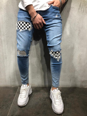 Blue Checkered Patched Ultra Skinny Fit Denim AY608 Streetwear Jeans - Sneakerjeans