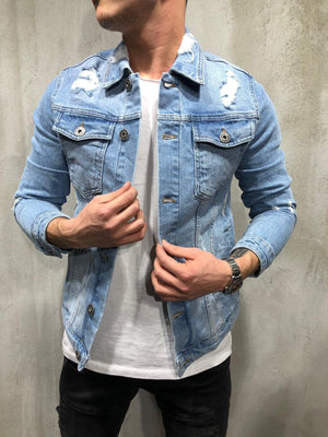 Blue Distressed Denim Jacket A368 Streetwear Denim Jacket - Sneakerjeans