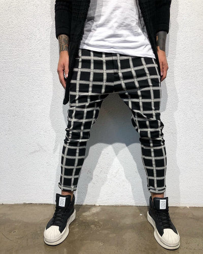 Black Checkered Baggy Jogger Pant B314 Streetwear Jogger Pants