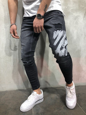 Black Printed Slim Fit Denim A65 Streetwear Denim Jeans - Sneakerjeans