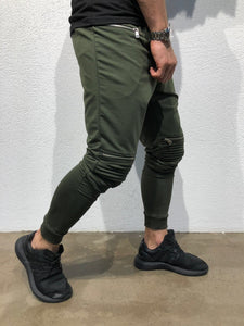 Khaki Knee Side Pocket Zipper Jogger Pant B170 Streetwear Jogger Pants - Sneakerjeans