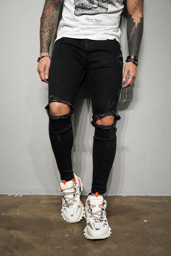 Black Ripped Ultra Skinny Fit Denim BL197 Streetwear Jeans