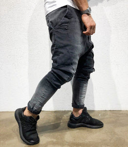 Gray Asymetric Baggy Denim B175 Streetwear Baggy Jeans