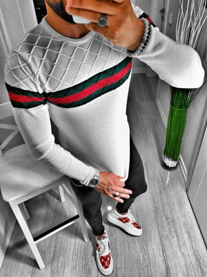 White Striped Sweater S160 Streetwear Jumper - Sneakerjeans
