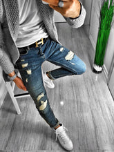 Load image into Gallery viewer, Blue Washed Distressed Ultra Skinny Fit Denim S230 Streetwear Jeans