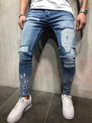 Blue Ripped Slim Fit Jeans A76 Streetwear Denim Jeans - Sneakerjeans