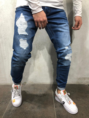 Blue Distressed Skinny Fit Denim A233 Streetwear Jeans - Sneakerjeans