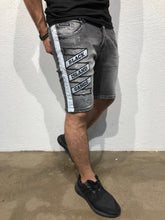 Load image into Gallery viewer, Black Patched Side Striped Slim Fit Denim Short B168 Streetwear Denim Shorts