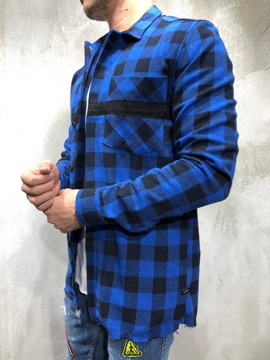Blue Black Checkered Oversized Shirt A249 Streetwear Shirt - Sneakerjeans