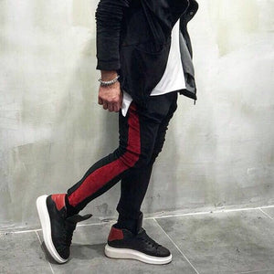 Black Red Stripe Jogger Pant SJ252 Streetwear Jogger Pants - Sneakerjeans