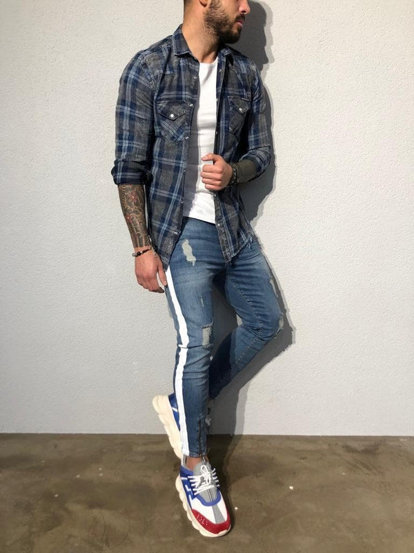 Blue Checkered Oversized Shirt B352 Streetwear Shirt - Sneakerjeans