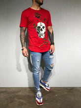 Load image into Gallery viewer, Red Oversize Skull Printed T-Shirt BL180 Streetwear T-Shirts