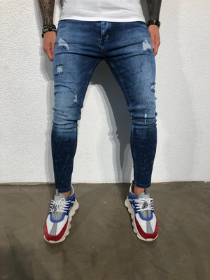 Blue Distressed V 2.0 Ultra Skinny Fit Denim BL151 Streetwear Jeans - Sneakerjeans