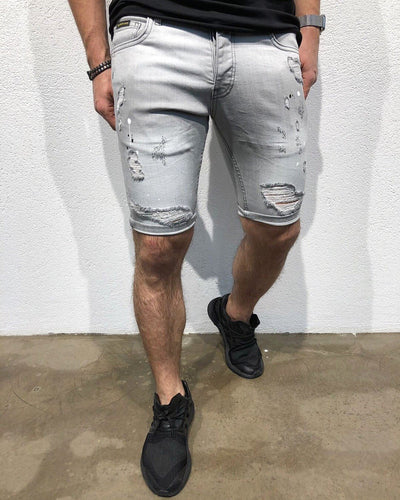 Gray Skinny Fit Short Denim B150 Streetwear Denim Jeans - Sneakerjeans