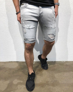 Gray Skinny Fit Short Denim B150 Streetwear Denim Jeans