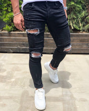 Load image into Gallery viewer, Black Destroyed Ankle Zipper Skinny Fit Denim B189 Streetwear Baggy Jeans - Sneakerjeans