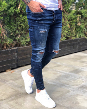 Blue Distressed Skinny Fit Denim B232 Streetwear Jeans - Sneakerjeans