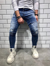 Load image into Gallery viewer, Blue Shredded Slim Fit Denim B40 Streetwear Denim Jeans