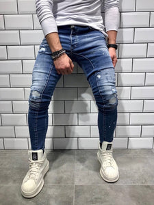 Blue Shredded Slim Fit Denim B40 Streetwear Denim Jeans - Sneakerjeans