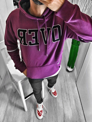 Purple Over Printed Hoodie S170 Streetwear Hoodies - Sneakerjeans
