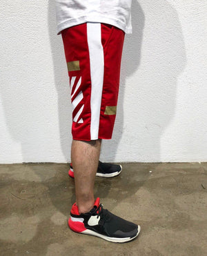 Red Gold Striped Sweat Short B182 Streetwear Sweat Shorts - Sneakerjeans