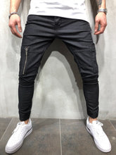Load image into Gallery viewer, Black Cargo Style Slim Fit Denim A47 Streetwear Denim Jeans
