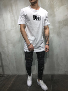 White Printed Oversize T-Shirt A16 Streetwear T-Shirts