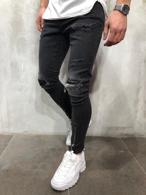 Black Ripped Patched Front Zippered Skinny Fit Denim A238 Streetwear Jeans - Sneakerjeans