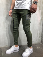 Load image into Gallery viewer, Khaki Cargo Style Slim Fit Denim A47 Streetwear Denim Jeans