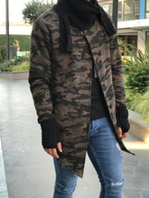 Load image into Gallery viewer, Brown Black Camouflage Scarf & Handwarmer sewn Asymetric Jacket 18711 Streetwear Jacket