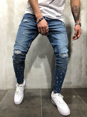 Blue Distressed Slim Fit Denim A90 Streetwear Denim Jeans - Sneakerjeans