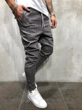 Load image into Gallery viewer, Gray Pink Striped Casual Jogger Pant A212 Streetwear Casual Jogger Pants