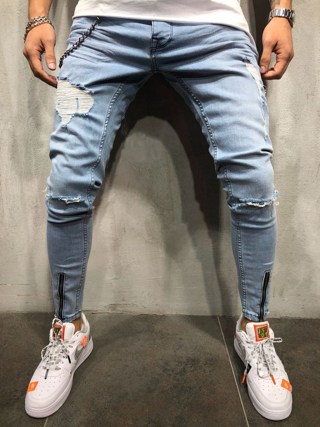 Light Blue Front Ankle Zip Distressed Skinny Fit Denim A185 Streetwear Jeans