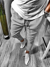 Load image into Gallery viewer, White Checkered Baggy Jogger Pant B162 Streetwear Jogger Pants